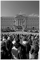 Tourists waiting for the changing of the guard in front of Buckingham Palace. London, England, United Kingdom (black and white)