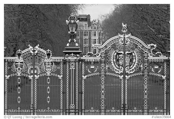 Gilded grids and park near Buckingham Palace. London, England, United Kingdom (black and white)
