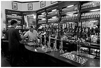 Counter of the pub Westmister Arms. London, England, United Kingdom (black and white)