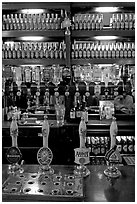 Hand-pulled pumps used to serve real ale beers, Westmister Arms bar. London, England, United Kingdom (black and white)