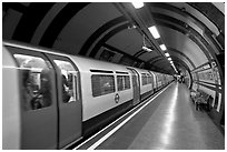 Train in station, London tube. London, England, United Kingdom (black and white)