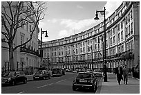 Street and townhouses crescent. London, England, United Kingdom (black and white)