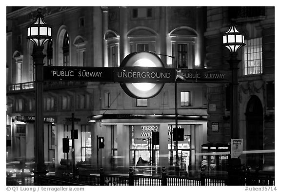 Black And White Picture Photo Subway Entrance At Night Piccadilly Circus London England United Kingdom
