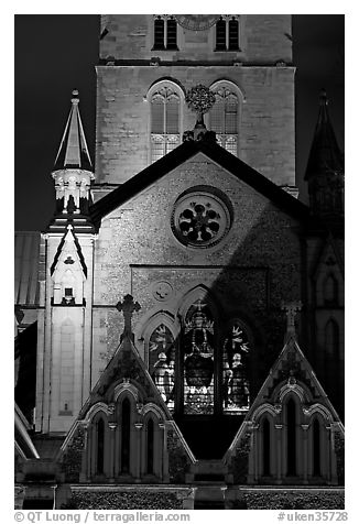 Southwark Cathedral detail at night. London, England, United Kingdom (black and white)