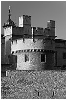 Turrets, outside wall, Tower of London. London, England, United Kingdom ( black and white)