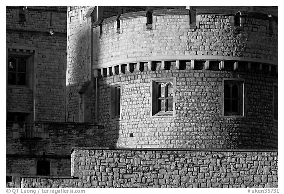 Detail of turret and wall, Tower of London. London, England, United Kingdom (black and white)