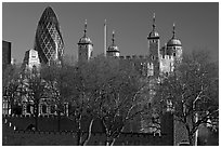 Tower of London and 30 St Mary Axe building (The Gherkin). London, England, United Kingdom (black and white)