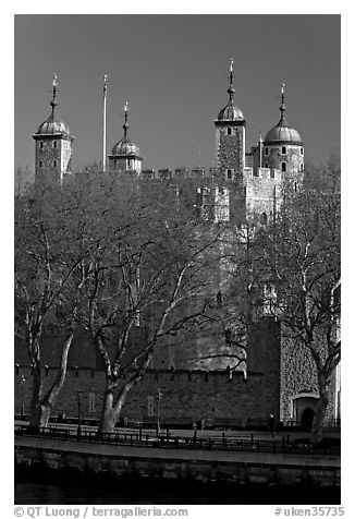 Tower of London, morning. London, England, United Kingdom (black and white)