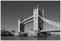 Tower Bridge at river level, morning. London, England, United Kingdom (black and white)