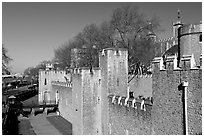 Rampart with crenallation,  Tower of London. London, England, United Kingdom ( black and white)