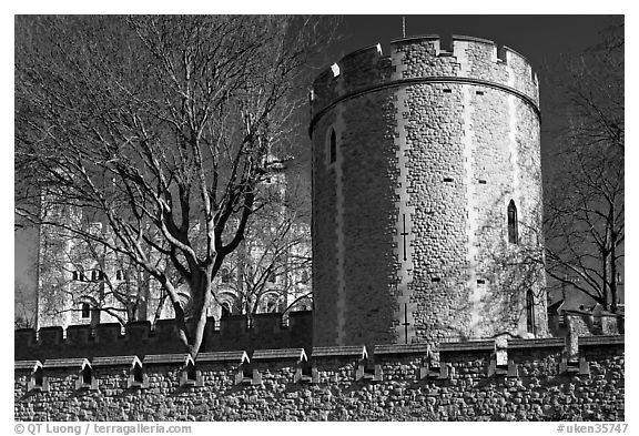 Crenallated wall and tower, Tower of London. London, England, United Kingdom (black and white)