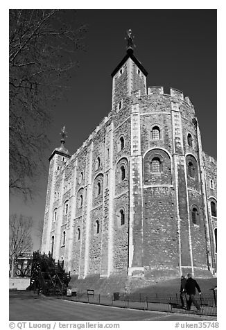 White Tower, inside the Tower of London. London, England, United Kingdom (black and white)