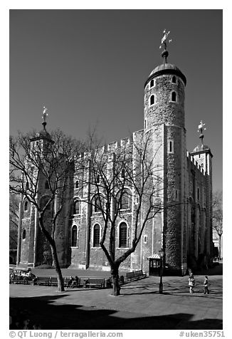 White Tower from the East, the Tower of London. London, England, United Kingdom (black and white)