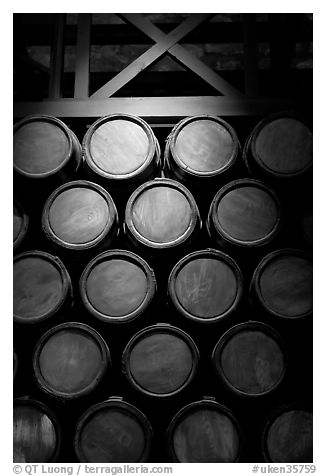 Barrels of gunpowder in the White House, Tower of London. London, England, United Kingdom (black and white)