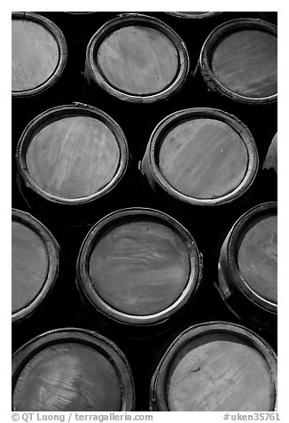 Gunpowder barrels  in the White House, Tower of London. London, England, United Kingdom (black and white)