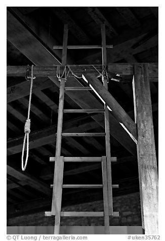 Gallows in the White House, Tower of London. London, England, United Kingdom (black and white)