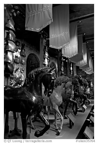 Armors and Models of royal horses,  the White House, Tower of London. London, England, United Kingdom (black and white)