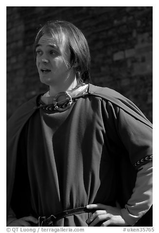Actor in period costume, Tower of London. London, England, United Kingdom (black and white)