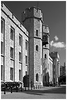 Towers and sentry, The Jewel House, part of the Waterloo Barracks, Tower of London. London, England, United Kingdom (black and white)