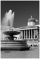 Fountain and National Gallery, Trafalgar Square. London, England, United Kingdom (black and white)