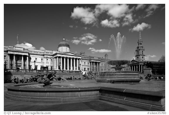 Trafalgar Square. London, England, United Kingdom (black and white)
