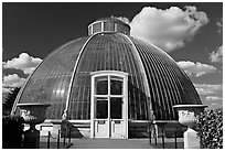 Entrance to the Palm House. Kew Royal Botanical Gardens,  London, England, United Kingdom (black and white)