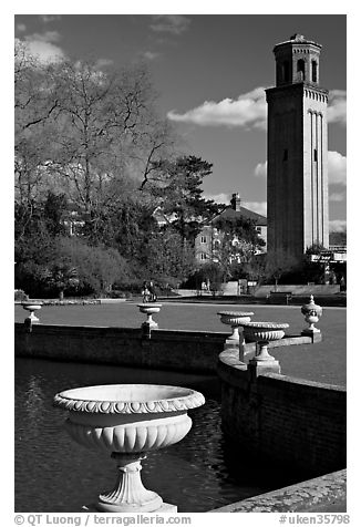 Vasques, lake and campanile. Kew Royal Botanical Gardens,  London, England, United Kingdom (black and white)