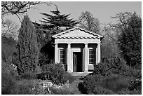 King William's temple, late afternoon. Kew Royal Botanical Gardens,  London, England, United Kingdom ( black and white)