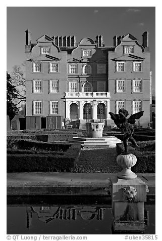Kew Palace, the smallest of the royal palaces. Kew Royal Botanical Gardens,  London, England, United Kingdom (black and white)