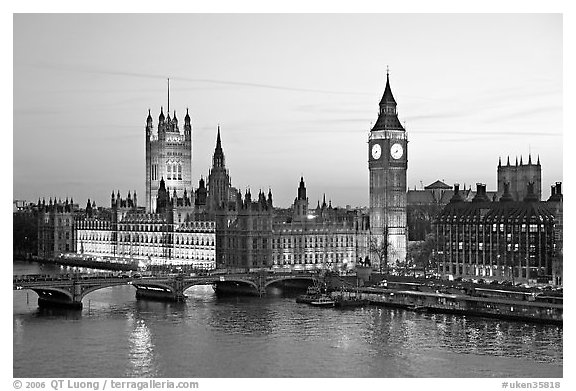 Black and white picture photo westminster palace at sunset london england united kingdom