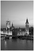 Houses of Parliament at sunset. London, England, United Kingdom ( black and white)