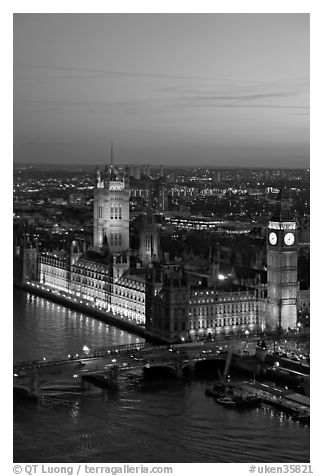 Aerial view of Westminster Palace from the London Eye at sunset. London, England, United Kingdom (black and white)
