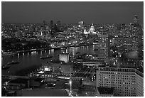 Aerial view of central London at dusk with Saint Paul and Thames River. London, England, United Kingdom ( black and white)