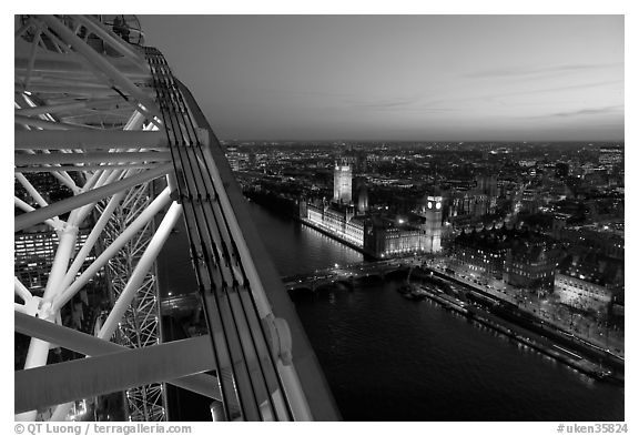 London Eye and Westmister Palace at sunset. London, England, United Kingdom (black and white)