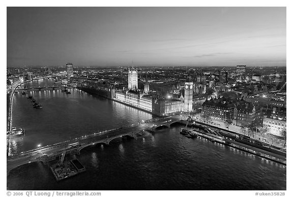 Aerial view of Thames River, Westmister Bridge and Palace at dusk. London, England, United Kingdom (black and white)