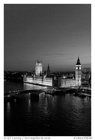 Thames River and Houses of Parliament at night seen from the London Eye. London, England, United Kingdom