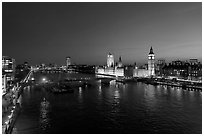 River Thames and Westmister Palace at night. London, England, United Kingdom ( black and white)