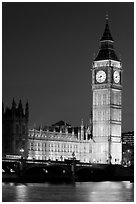 Big Ben and Westminster Bridge at night. London, England, United Kingdom (black and white)
