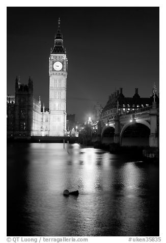 Black And White Picture Photo Big Ben Reflected In Thames River At Night London England United Kingdom