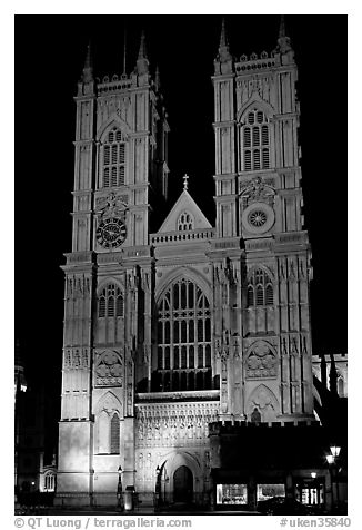 Westminster Abbey facade at night. London, England, United Kingdom