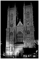 Westminster Abbey facade at night. London, England, United Kingdom (black and white)