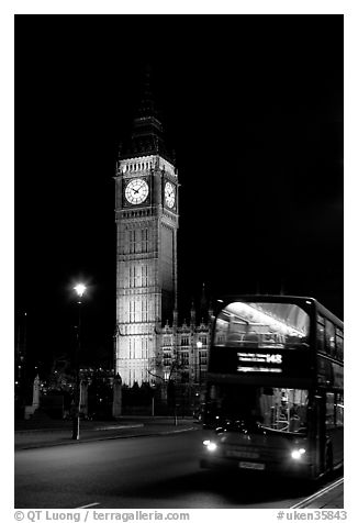 Double-decker bus and Big Ben at night. London, England, United Kingdom (black and white)