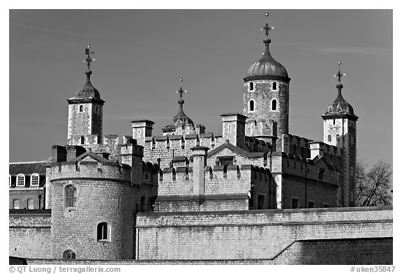 Turrets and White House, Tower of London. London, England, United Kingdom (black and white)