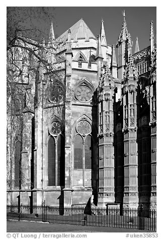 Westminster Abbey, rear view. London, England, United Kingdom (black and white)