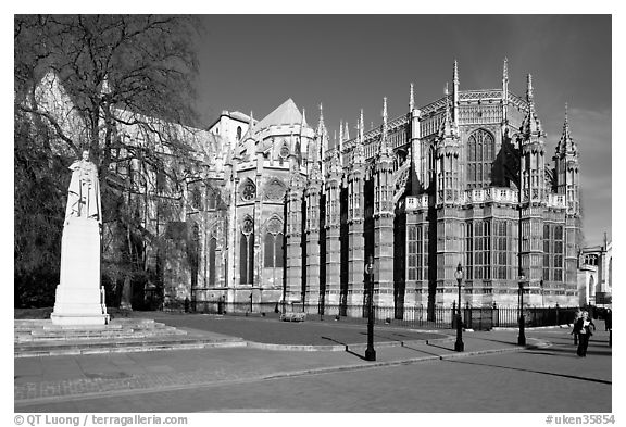 Westminster Abbey gothic spires. London, England, United Kingdom (black and white)