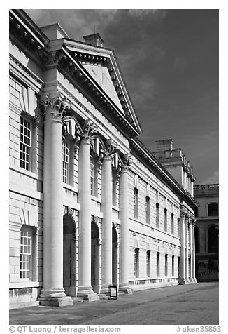 Facade in the Grand Square of the Greenwich Hospital. Greenwich, London, England, United Kingdom (black and white)