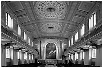 Chapel interior with richly decorated ceiling, Greenwich University. Greenwich, London, England, United Kingdom (black and white)