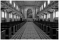 Chapel, Greenwich Hospital. Greenwich, London, England, United Kingdom (black and white)