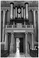Organ in the chapel, Old Royal Naval College. Greenwich, London, England, United Kingdom (black and white)