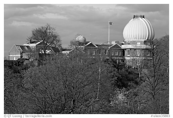 Royal Observatory,  the first purpose-built scientific research facility in Britain. Greenwich, London, England, United Kingdom (black and white)